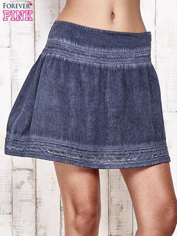 Ciemnoniebieska spódnica z efektem dekatyzowania                                  zdj.                                  8