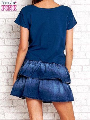 Ciemnoniebieska sukienka dresowa z jeansowym dołem                                  zdj.                                  4
