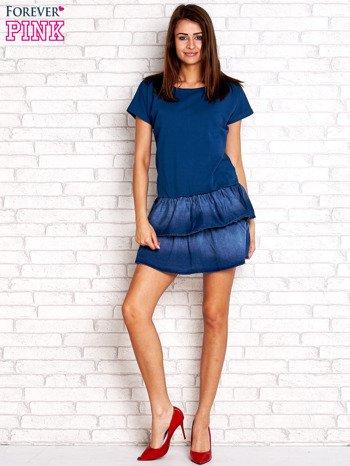 Ciemnoniebieska sukienka dresowa z jeansowym dołem                                  zdj.                                  2