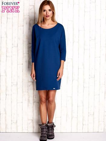 Ciemnoniebieska sukienka oversize                                  zdj.                                  2