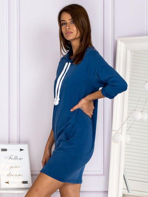 Ciemnoniebieska sukienka z troczkami                              zdj.                              5
