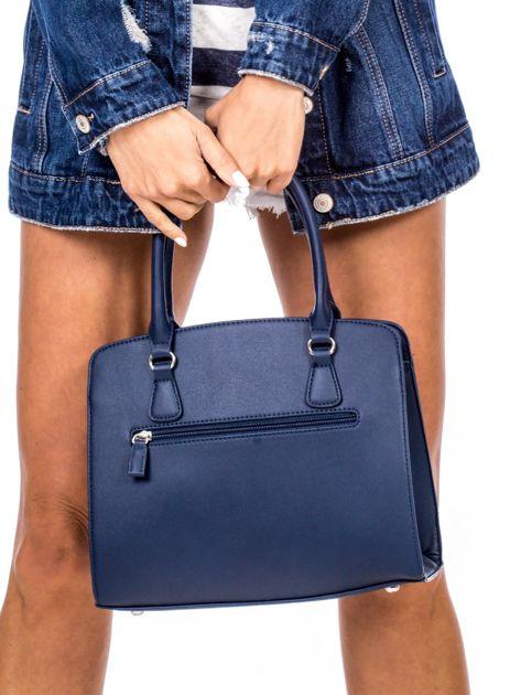 Ciemnoniebieska torba z ozdobnymi ćwiekami                              zdj.                              4