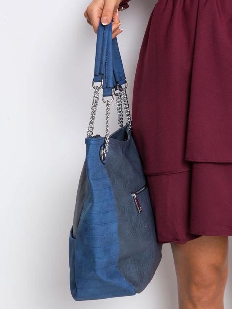 Ciemnoniebieska torba ze skóry eko                              zdj.                              3