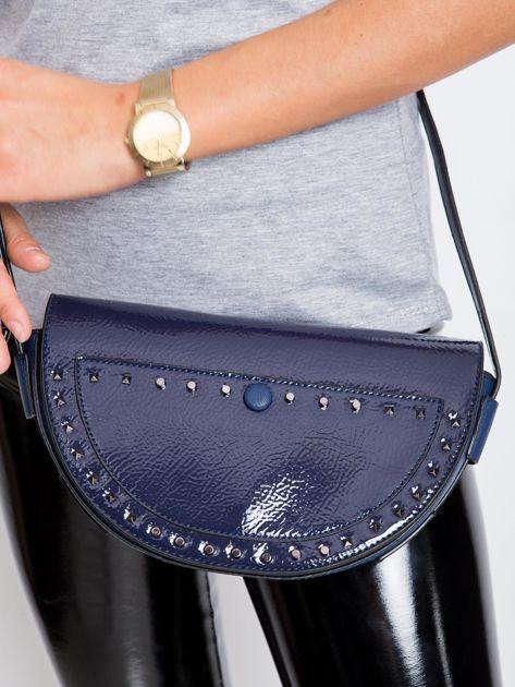 Ciemnoniebieska torebka saddle bag