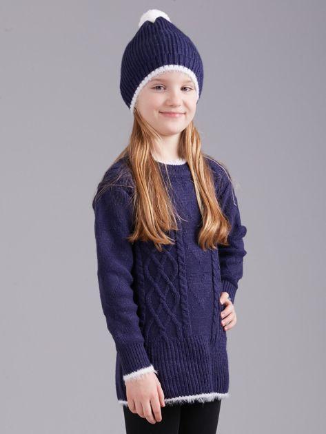 Ciemnoniebieski komplet zimowy dla dziewczynki                              zdj.                              2