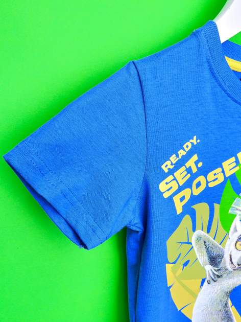 Ciemnoniebieski t-shirt chłopięcy KRÓL JULIAN                                  zdj.                                  6