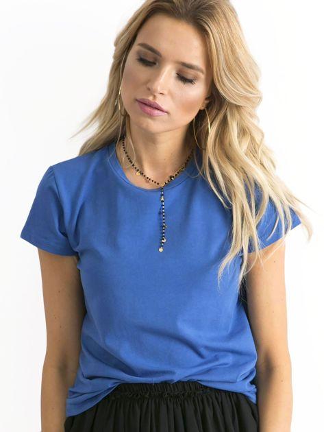 Ciemnoniebieski t-shirt damski                              zdj.                              1