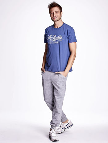 Ciemnoniebieski t-shirt męski z nadrukiem napisu THE ROCKIES                                  zdj.                                  4
