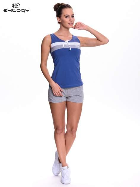 Ciemnoniebieski top sportowy z wiązaniem w stylu marynarskim                                  zdj.                                  2