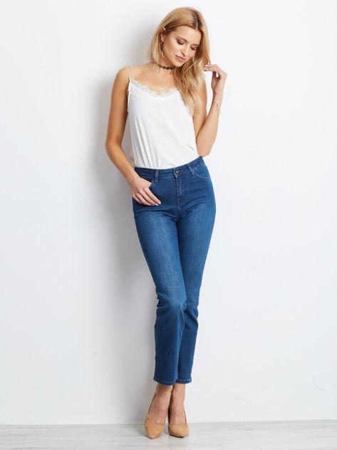 Ciemnoniebieskie jeansy Straight                              zdj.                              4