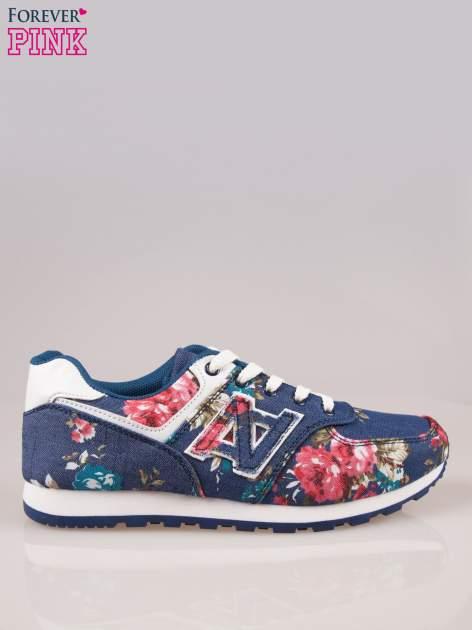 Ciemnoniebieskie kwiatowe buty sportowe w stylu casual                                  zdj.                                  1