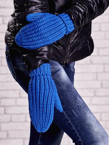 Ciemnoniebieskie proste rękawiczki na jeden palec z grubej wełny                                  zdj.                                  1