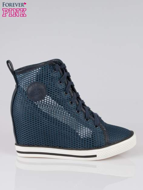 Ciemnoniebieskie siateczkowe sneakersy damskie                                  zdj.                                  1