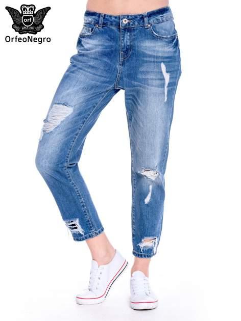 Ciemnoniebieskie spodnie boyfried jeans z dziurami                                  zdj.                                  1