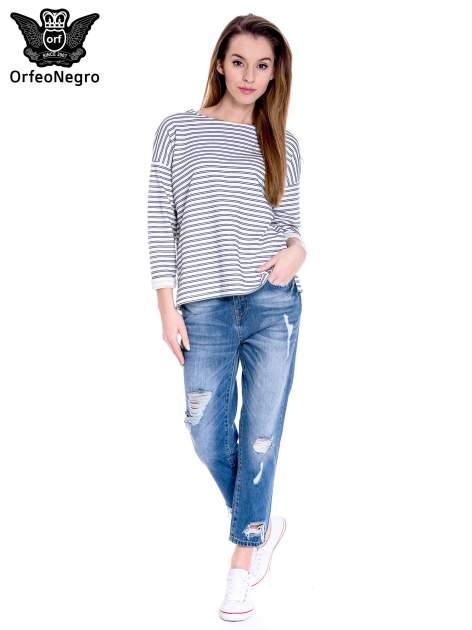 Ciemnoniebieskie spodnie boyfried jeans z dziurami                                  zdj.                                  2