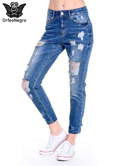 Ciemnoniebieskie spodnie boyfriend jeans z efektem destroyd                                  zdj.                                  1