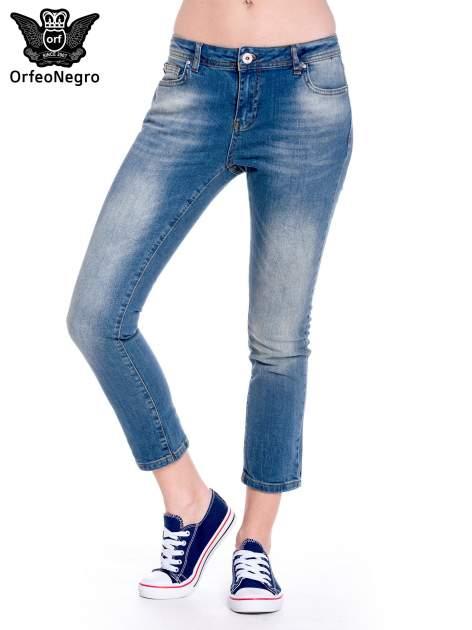 Ciemnoniebieskie spodnie girlfriend jeans z cieniowaniem                                  zdj.                                  1