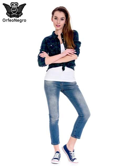 Ciemnoniebieskie spodnie girlfriend jeans z cieniowaniem                                  zdj.                                  2