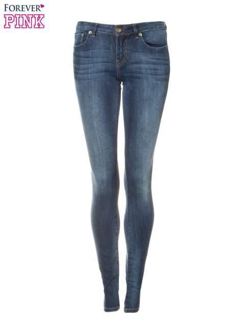 Ciemnoniebieskie spodnie jeansowe rurki z cieniowaniem                                  zdj.                                  5