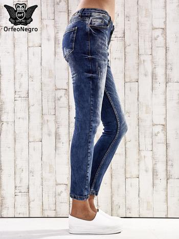 Ciemnoniebieskie spodnie jeansy marble denim                                  zdj.                                  2