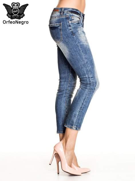 Ciemnoniebieskie spodnie skinny jeans z łatami                                  zdj.                                  3