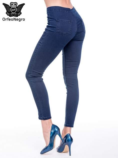 Ciemnoniebieskie spodnie skinny jeans z wysokim stanem                                  zdj.                                  4