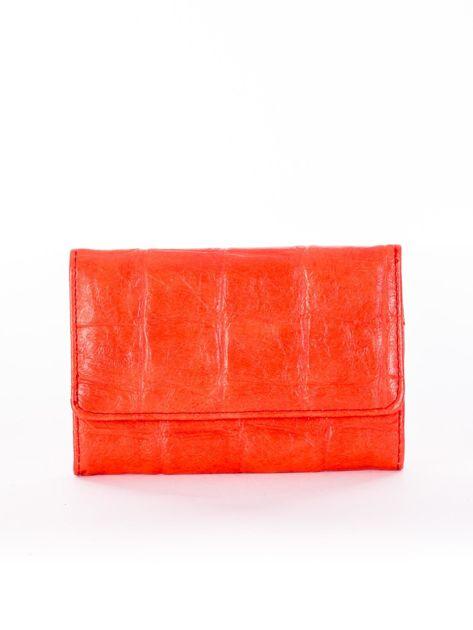 Ciemnopomarańczowy portfel z tłoczonym motywem animal skin
