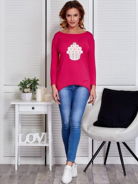 Ciemnoróżowa asymetryczna bluzka z babeczką                                  zdj.                                  4