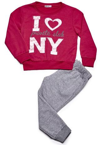 Ciemnoróżowy komplet dla dziewczynki bluza i spodnie                              zdj.                              1