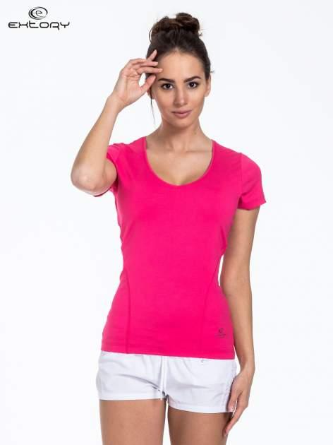 Ciemnoróżowy t-shirt sportowy basic                                  zdj.                                  1
