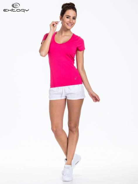 Ciemnoróżowy t-shirt sportowy basic                                  zdj.                                  2