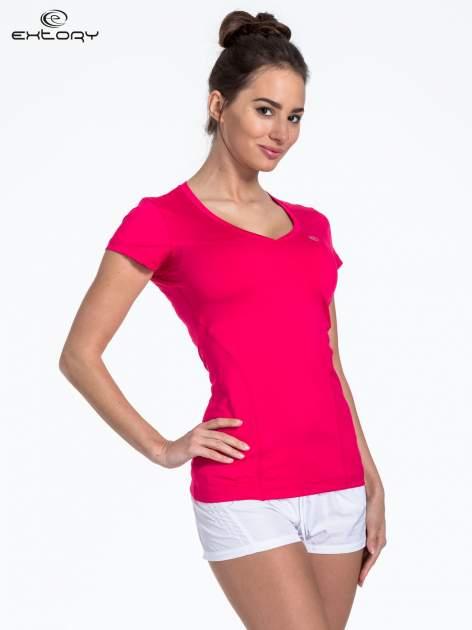 Ciemnoróżowy t-shirt sportowy termoaktywny z dekoltem V                                  zdj.                                  3