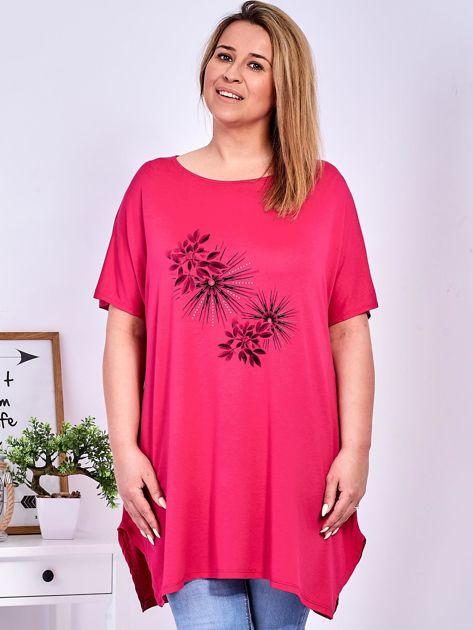 Ciemnoróżowy t-shirt  z roślinnym printem PLUS SIZE                              zdj.                              1