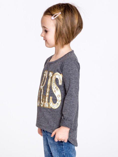 Ciemnoszara bawełniana bluzka dziewczęca z napisem PARIS                              zdj.                              4