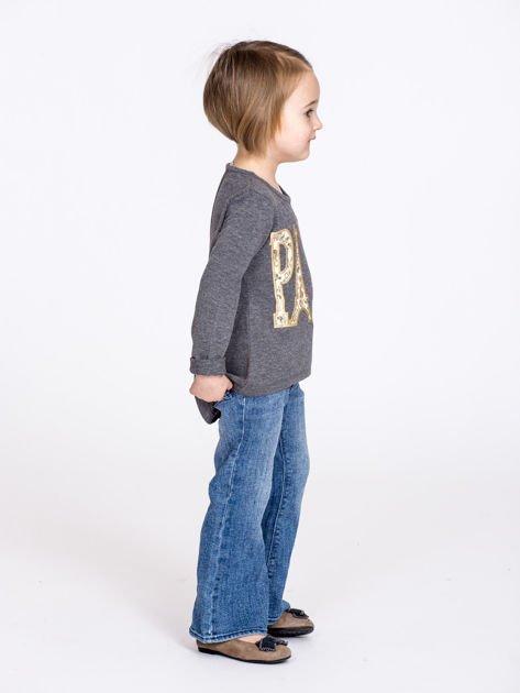 Ciemnoszara bawełniana bluzka dziewczęca z napisem PARIS                              zdj.                              6
