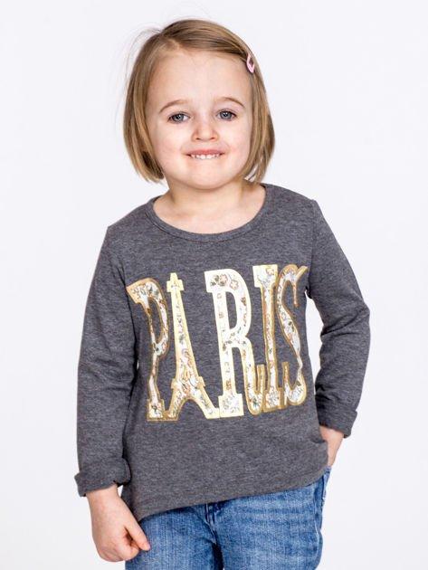 Ciemnoszara bawełniana bluzka dziewczęca z napisem PARIS                              zdj.                              1