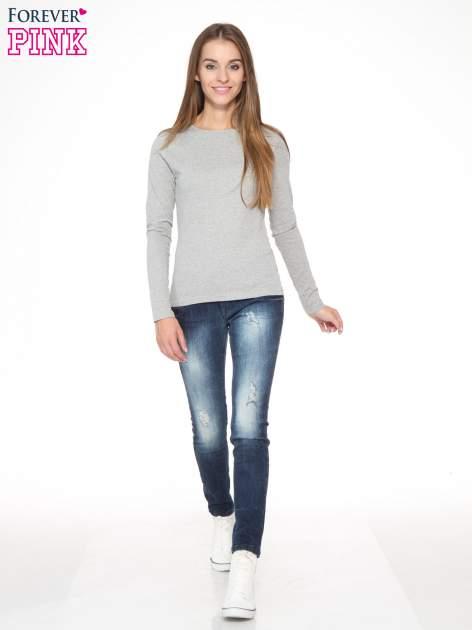 Ciemnoszara bawełniana bluzka typu basic z długim rękawem                                  zdj.                                  2