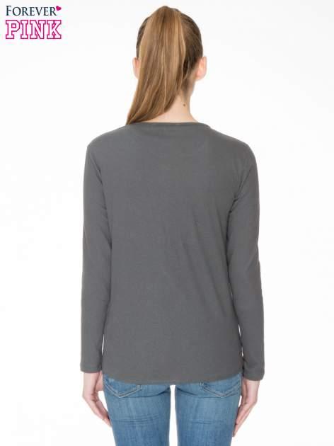 Ciemnoszara bawełniana bluzka z gumką na dole                                  zdj.                                  4