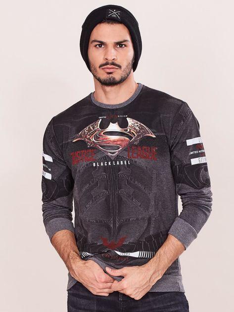 Ciemnoszara bluza dresowa dla mężczyzny z nadrukiem                              zdj.                              1