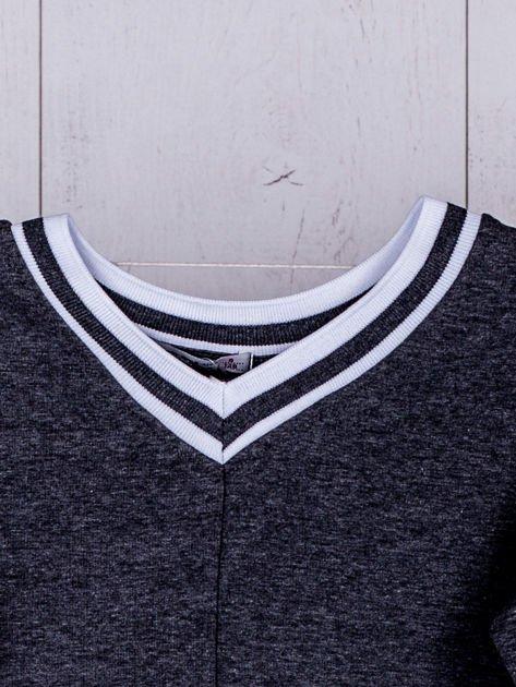 Ciemnoszara bluza dziewczęca V-neck ze ściągaczami                              zdj.                              6