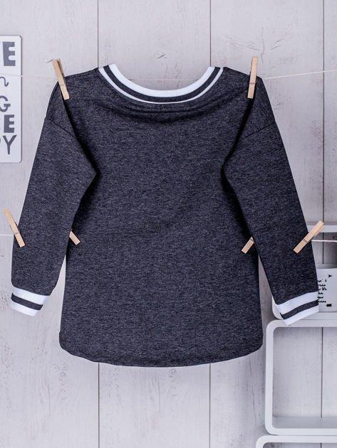 Ciemnoszara bluza dziewczęca V-neck ze ściągaczami                              zdj.                              5