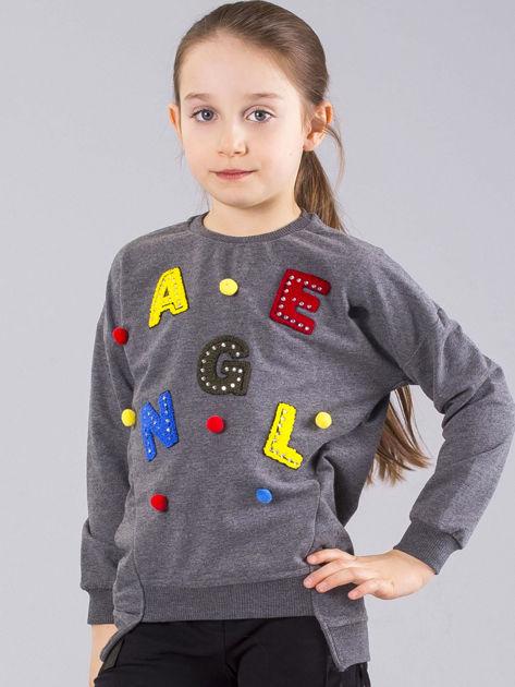 Ciemnoszara bluza dziewczęca z aplikacją i pomponikami