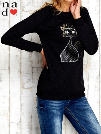 Ciemnoszara bluza z cekinowym kotem                                  zdj.                                  3
