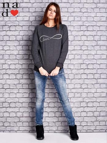 Ciemnoszara bluza z napisem LOVE                                  zdj.                                  2
