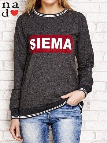 Ciemnoszara bluza z napisem SIEMA