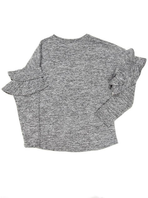 Ciemnoszara bluzka dziewczęca z falbankami na rękawach                              zdj.                              5