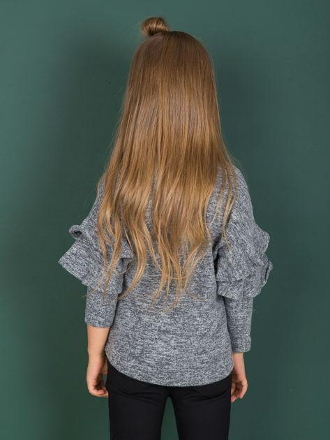 Ciemnoszara bluzka dziewczęca z falbankami na rękawach                              zdj.                              3