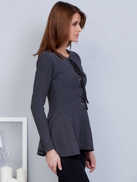 Ciemnoszara bluzka lace up z baskinką                              zdj.                              5