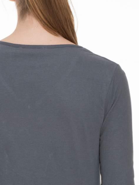 Ciemnoszara bluzka z długim rękawem z bawełny                                  zdj.                                  5