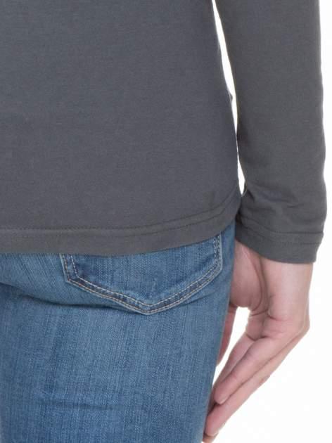 Ciemnoszara bluzka z długim rękawem z bawełny                                  zdj.                                  6
